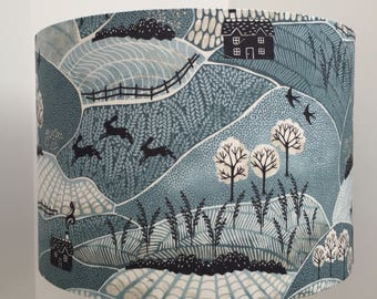 Lampshade Countryside fields, hares, birds blue / grey fabric, handmade ceiling/table, 30cm or 20cm, rural, countryside, nature lover