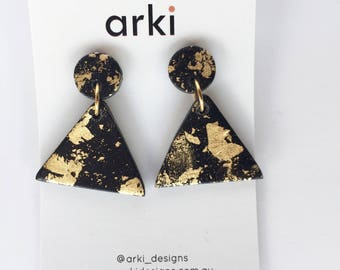 Black and gold triangle earrings