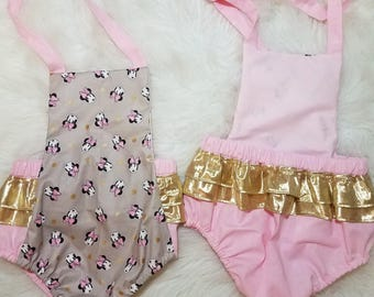 Chic Vintage Minnie Mouse Inspired Baby Romper