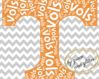 Tennessee Vols Word Art SVG