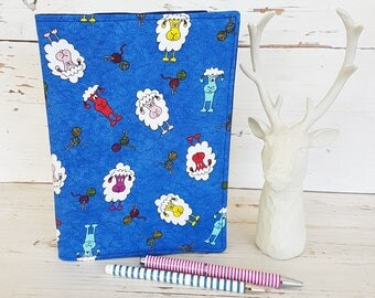 A5 Fabric Book Cover - Shabby Sheep Design - Art Journal Cover - Notebook slip cover