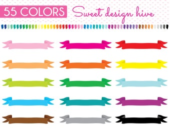 Ribbon Banner Clipart, Ribbon Banner Stickers, Planner Stickers Clip art, Commercial Use, PL0032