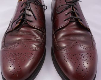 Bostonian Classics Men's 9.5 EEE Wide Burgundy Derby Oxford Wingtip Brogue Patent Leather Shoes
