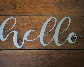 "Metal ""hello"" Sign"