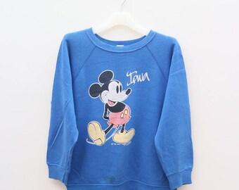 Vintage MICKEY MOUSE Walt Disney Cartoon Animation Blue Sweater Sweatshirt Size M