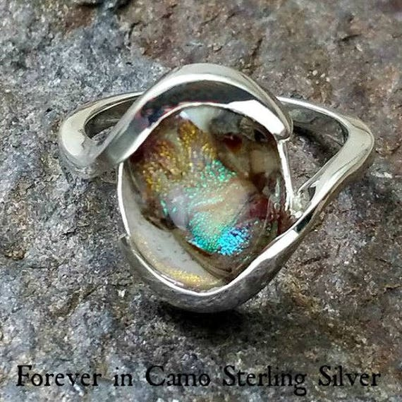 Custom Blown Glass Memorial Ring mounted in Sterling Silver