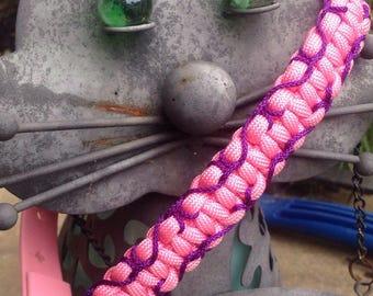 Pink and purple adjustable dog collar