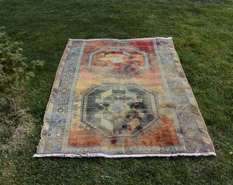 Rare Anatolian Vintage Area Rug Free Shipping 4.4 x 5.8 feet Natural dyed Organic Nomadic Rug Floor Rug Aztec Rug türkischer Teppich DC944