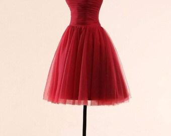 Vintage Kleid Tüll Rot S 36