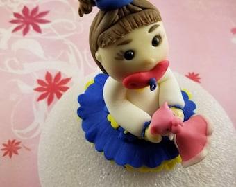 Fondant edible little girl with pink lovey bear birthday shower cake topper
