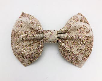 Champagne Lace Glitter Bow