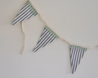 Blue ticking stripes bunting with cotton edging, 2 meters long plus ties at each end, classic blue stripe bunting with lace trim on one side