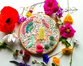 modern embroidery hoop //handmade contemporary home decor// bright pastel abstract textile art
