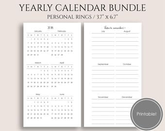 "Yearly Calendar Bundle, 2018 and 2019 Year-at-a-Glance, Dates to Remember, Birthday Tracker, Holidays ~ Personal / 3.7"" x 6.7"" PDF Download"