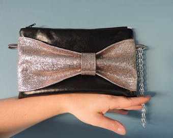 black faux leather knot imitation hand bag gray glitter