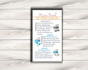 "Rodan and Fields Mini Facial Card / Rodan + Fields Cards / Digital File / 3"" x 5""-1"
