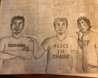 Chris Cornell art, Layne Staley and Scott Weiland drawing