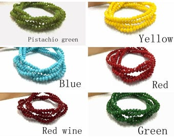 Colorful 3x2mm faceted crystal flat beads/Diy handmade beaded jewelry accessories material_0.7mm hole_a string of 150 beads