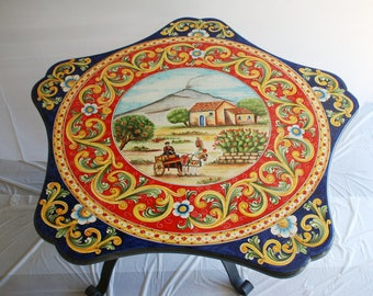 "Sicilian Lava Stone Pentagonal Table ""Etna"" + Table stand ""Nabucco"""