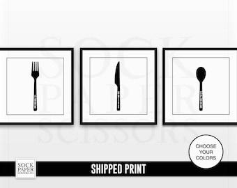 Kitchen Utensils Art Print, Fork Knife Spoon Print Set - Fork Print - Knife Print - Spoon Print - Utensil Print Set -  Set of 3 - Sku CHO114