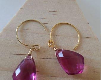 Sale! handmade fuchsia quartz earrings 14k gold filled hook