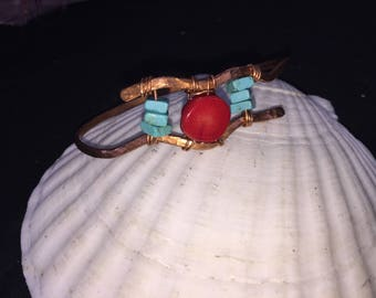 Hammered copper with red coral and turquoise