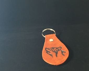 Hand Tooled Leather Key Fob - Wolf Inlay