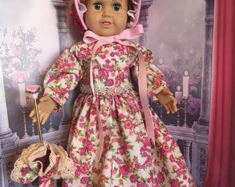Historical American Civil War Period 1861-1865 Walking Suit with Unbrella and Bonnet for American Girl Doll