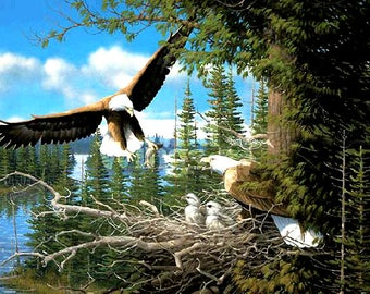 Spring Bald Eagles Cross Stitch Pattern***LOOK***