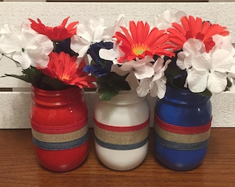 Set Of 3 Pint Size Independence Day Mason Jars