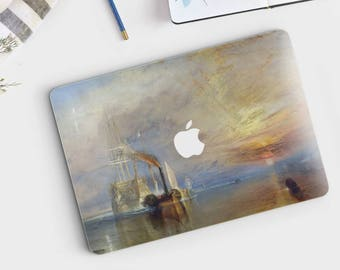 "J.M.W. Turner, ""The Fighting Temeraire tugged..."". Macbook Pro 15 decal, Macbook Air 13 skin,  Macbook 12 sticker. Macbook skin Art."