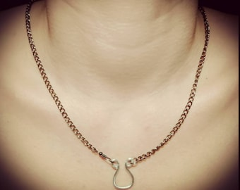 50 shades of grey style chain with pendant aluminum