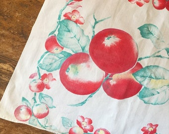 Vintage cotton table runner. Apple blossom print