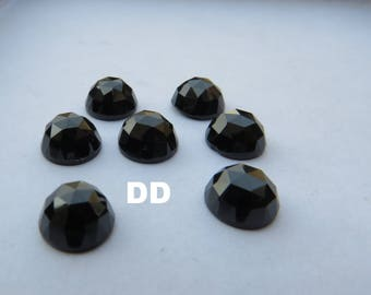 AAA+ Rose Cut Black Spinel faceted round loose gemstone Top quality Natural Black Spinel Rose Cut lot-Size-8mm