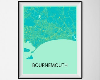 Bournemouth Map Poster Print - Blue and Yellow