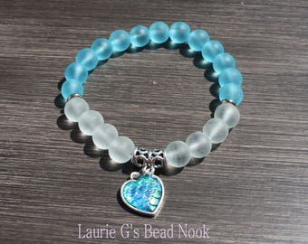 Blue Dragon: beaded bracelet Turquoise  sea-glass