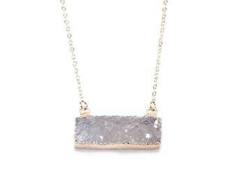 Druzy Bar Pendant Necklace