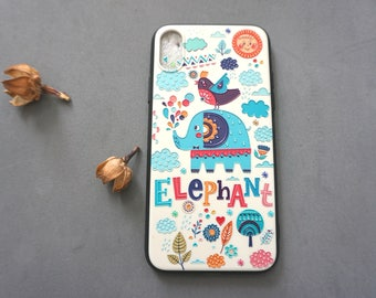 Elephant Oil Painting Style iPhone X case, iPhone x case, iPhone x cover, Cute iPhone x case, Elephant iphone x case