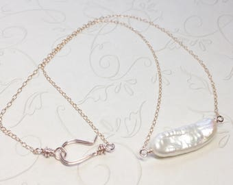 Rose Gold Wire Wrapped Freshwater Stick Pearl