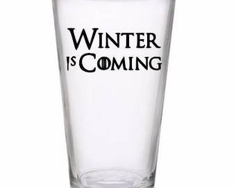 Winter is Coming Game of Thrones GOT Horror Pint Wine Glass Tumbler Alcohol Drink Cup Barware Halloween Scary