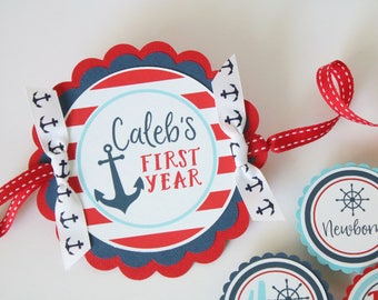 Nautical Birthday First Year Photo Banner - 12 Month Photo Banner - Nautical First Birthday Banner for Photos