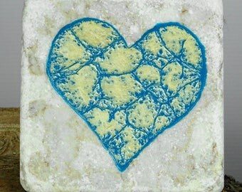 Heart wall hanging marble tile. Ideal valentines's Day gift present
