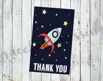Rocket Ship - Printable Thank You Cards  - Outer Space Thank You - Space Ship Thank You - Astronaut - Space - Thank You Note