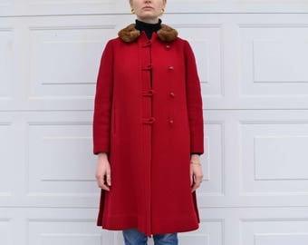 Fur collared wool coat