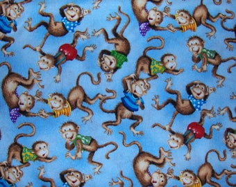 South Sea Imports 100% Cotton Fabric BTY - Fuzzytails ABC Monkeys