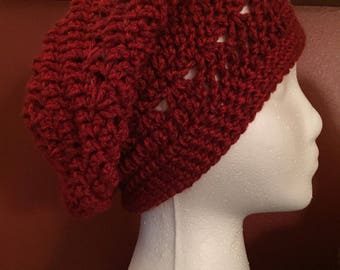 Adult women's slouchy hat with ribbed brim