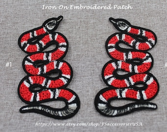 Snake Patch Coral Snake Iron On Patch 3.3'' x 1.9'' Mirror Symmetry Snake Patch High Quality Patch Embroidery Red Snake Patch Custom made#A8