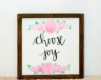 Choose Joy  Wood Framed Canvas