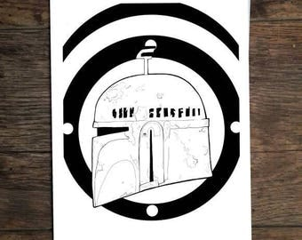 Star Wars Boba Fett a5 Illustration Print