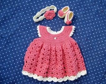 Handmade Crochet Baby Girl Dress, Booties, and Headband Set